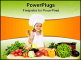 PowerPoint Template - Happy little girl chef with lots of vegetables holding a wooden cooking utensil - isolated