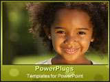 PowerPoint Template - Happy cute little girl smiling in a park