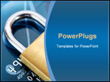 PowerPoint Template - an image of brass padlock on credit card