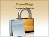 PowerPoint Template - d illustration of heavy brass padlock on a white floor/background with two blank white documents si