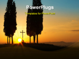 PowerPoint Template - Sunrise behind a lonely cross between cypress trees on the rolling hills of Tuscany near Pienza Italy