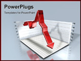 PowerPoint Template - 3d illustration of a red down arrow in a box chart