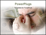 PowerPoint Template - his young man is experience intense stress over a time of economic downturn or other financial hard