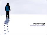 PowerPoint Template - Man walking in snow.