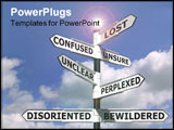 PowerPoint Template - Concept image of a lost and confused signpost against a blue cloudy sky.