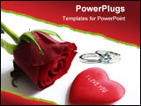 PowerPoint Template - red rose and heart with message i love you