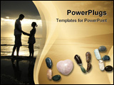 PowerPoint Template - The word LOVE spelled out with polished stones and a single pink stone heart