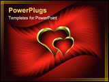 PowerPoint Template - A vector valentines background with gold hearts on a deep red backdrop with room for text