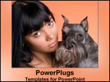 PowerPoint Template - Young lady hugs her cute dog.