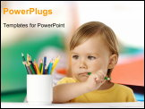 PowerPoint Template - Cute child bites green crayon and thinks about new drawing ideas isolated over white