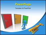PowerPoint Template - 3D render of shiny golden key with the word SUCCESS