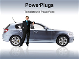 PowerPoint Template - Side view of a car. metallic paint texture on car not noise. no logo shown with business man