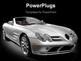 PowerPoint Template - silver sports car on a black background