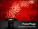 PowerPoint Template - Vector - Magic wand performing tricks on a top hat with stars