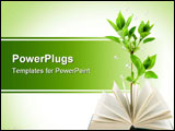 PowerPoint Template - Book and plant isolated on white background