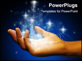PowerPoint Template - Stardust flowing from an open hand. Digital illustration.