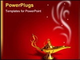 PowerPoint Template - golden arabic magic lamp on red background with smoke