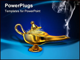 PowerPoint Template - A magical lamp with white smoke. Digital illustration