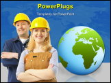 PowerPoint Template - Contractor people in yellow uniform. Over blue background