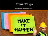 PowerPoint Template - make it happen motivational slogan colorful sticky notes on cork bulletin board