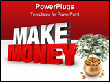 PowerPoint Template - 3d rendered illustration of the word make money on a light gray-white gradient background