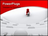 PowerPoint Template - ed character standing by a lectern facing an audience of white characters sitting in five levels of