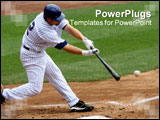 PowerPoint Template - Baseball batter making contact with baseball. All logo