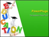 PowerPoint Template - Man with diploma on text education. 3d
