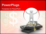 PowerPoint Template - Man stand on dollars. Isolated 3D image