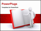 PowerPoint Template - man reads big red book, interesting information