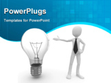 PowerPoint Template - 3d man with light bulb isolated on white