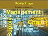 PowerPoint Template - Word cloud tags concept illustration of supply chain management glowing light effect