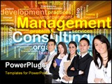 PowerPoint Template - Word cloud concept illustration of management consulting glowing light effect