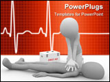 PowerPoint Template - 3d man performing a cpr first aid