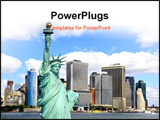 PowerPoint Template - The Statue of Liberty and Lower Manhattan Skylines New York City