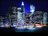 PowerPoint Template - Lower Manhattan skyline At Night Lights NYC