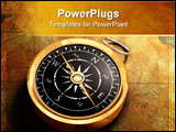 PowerPoint Template - An old fashioned brass compass on a Treasure map background