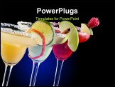 PowerPoint Template - hree Margaritas - apple orange and raspberry - in chilled glasses over black background garnished w