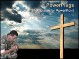 PowerPoint Template - spiritual marine praying for himself and his comrades.