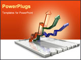 PowerPoint Template - 3d illustration of three up arrows on a flat box chart