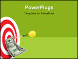 PowerPoint Template - Bulls eye with dart and ten dollar bill pinned