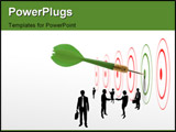 PowerPoint Template - dart hit the center of green target symbol of success