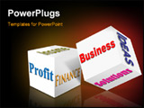 PowerPoint Template - Business cube with keywords on the side