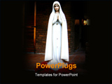 PowerPoint Template - religion, image of mary virgin with red flowers behind