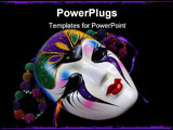 PowerPoint Template - mardi gras mask and colorfulbeads on black.