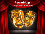 PowerPoint Template - The three-dimensional models of theatrical masks showing human emotions