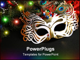 PowerPoint Template - Mask and Christmas light. Carnival the mask is isolated on a black background
