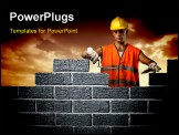 PowerPoint Template - Mason in a hardhat building brick wall