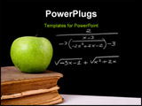 PowerPoint Template - Green apple on top of a very old book. Chalkboard with a formula on it as background