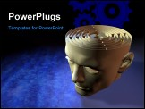 PowerPoint Template - Computer-generated 3-D illustration depicting a human head and circular maze